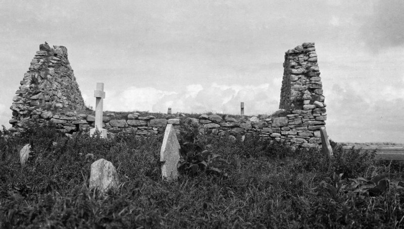 General view of ruined chapel from graveyard.