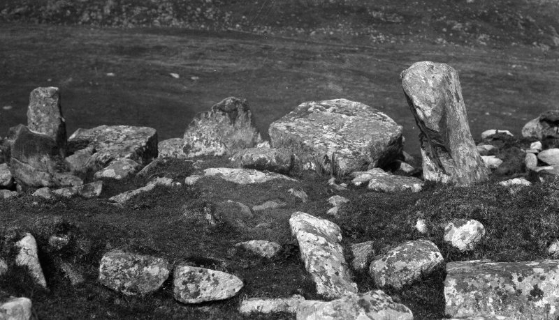 Ruined chambered cairn, 1.5 miles east of Borve. Detail of chamber.