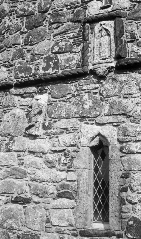 St Clement's Church, Rodel. Sculpture on west face of tower.