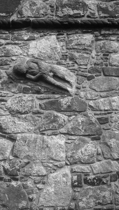 St Clement's Church, Rodel. Detail of figure on W face of tower.