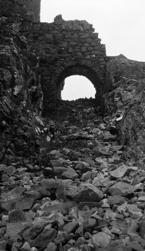 Dun Scaich, Skye. View of 'the trench and bridge' from the south.