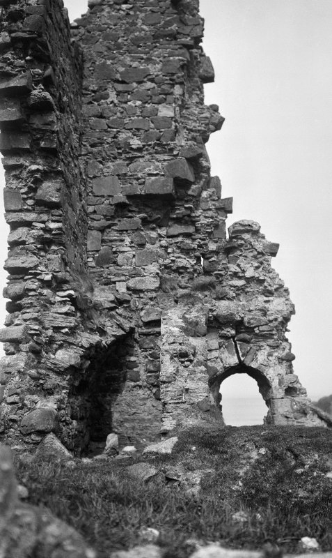 Skye, Duntulm Castle. Detail of later tower; vaulted chamber with pointed window, facing north west.