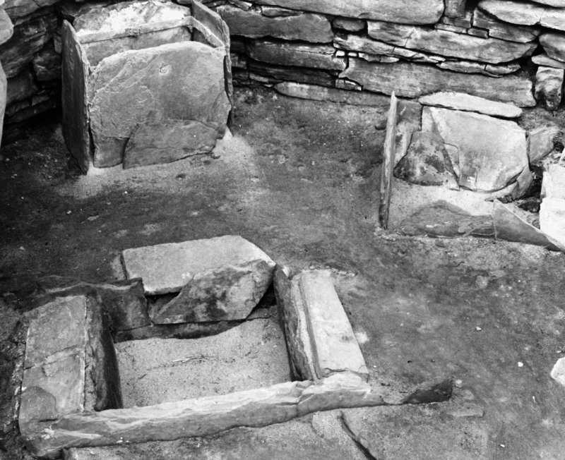 View of stone boxes in hut 7, Skara Brae.
