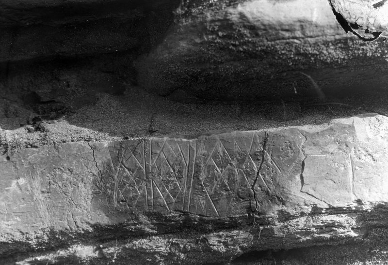 Detail of neolithic stone carvings.