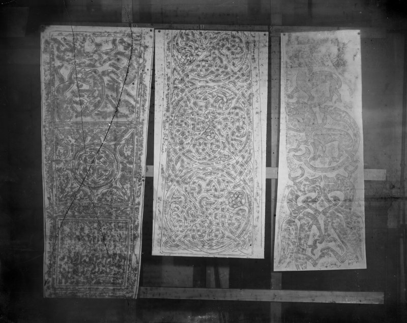 Photographic copy of three rubbings showing from left details of the Dupplin Cross, Aberlemno no.2 Pictish cross slab and Rossie Priory Pictish cross slab.