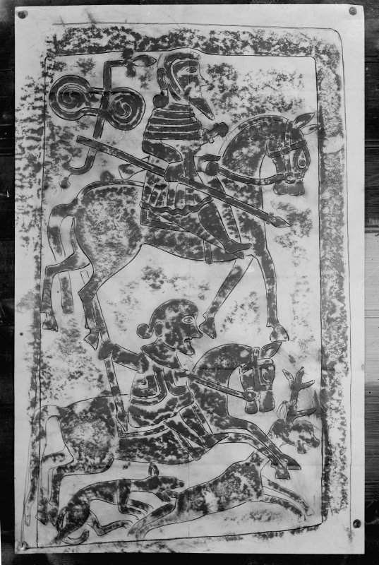 Photographic copy of rubbing showing a hunting scene on reverse of Kirriemuir no.2 Pictish cross slab.