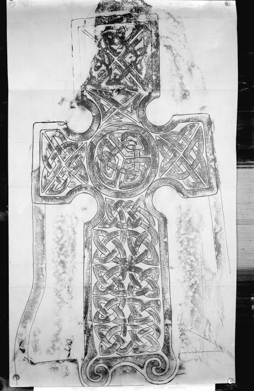 Photographic copy of rubbing showing the face of a Pictish cross slab in Logierait churchyard.