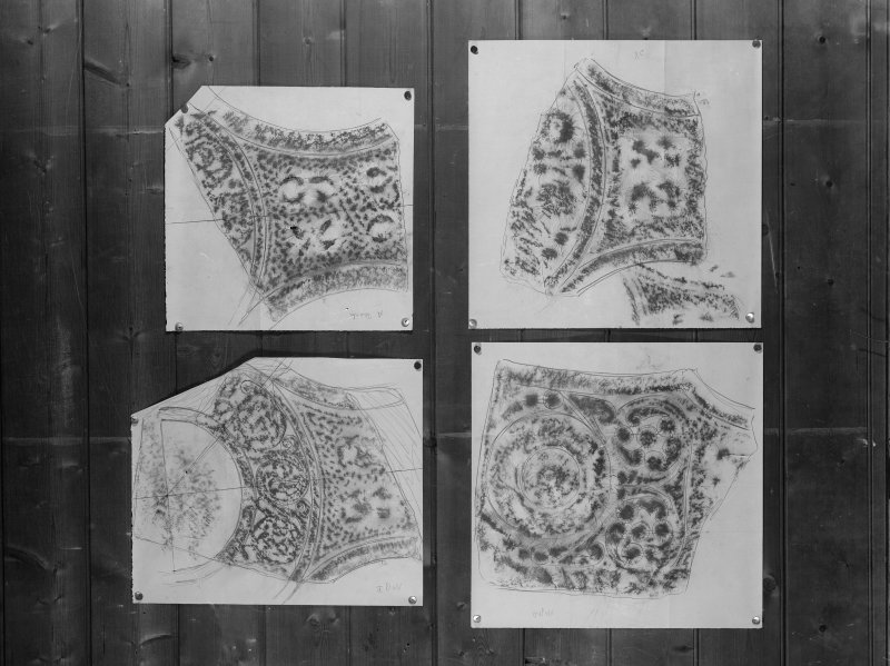 Photographic copy of four rubbings showing details of St Oran's Cross, Iona.