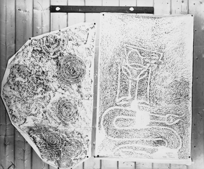 Photographic copy of two rubbings. The right rubbing shows details of Craigmyle Pictish symbol stone. The left rubbing is from an unidentified carved stone.