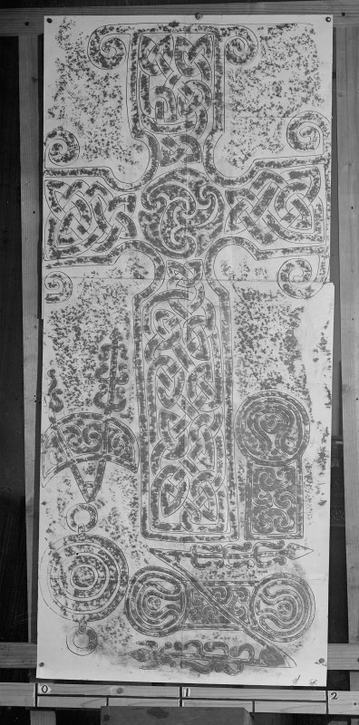 Photographic copy of rubbing showing detail of the face of Dyce no.2 Pictish cross slab.