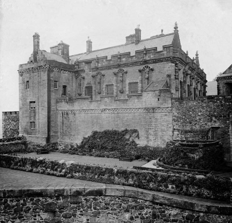 Stirling Castle. General view of Royal Palace and Princes Tower from South.
