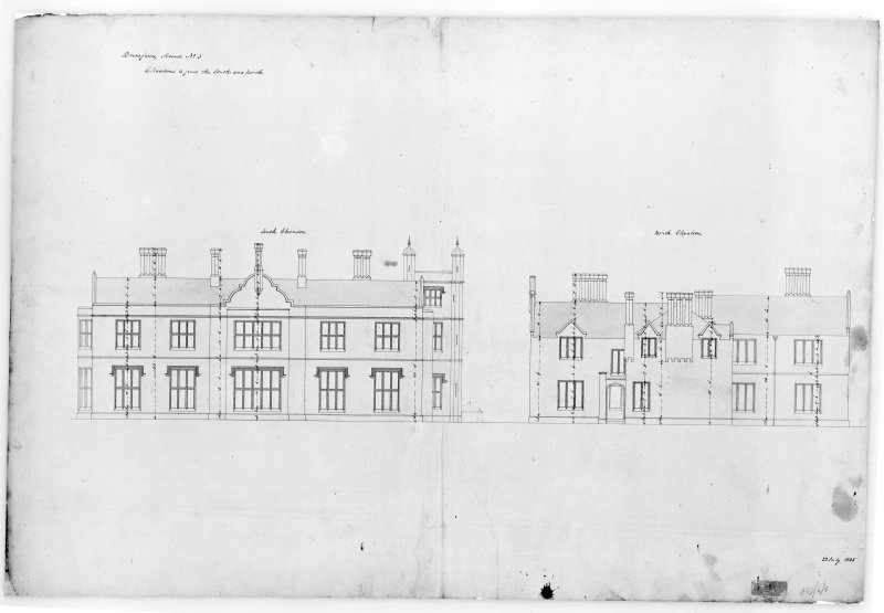 Photographic copy of plan showing North and South elevations, Aros House, Mull.