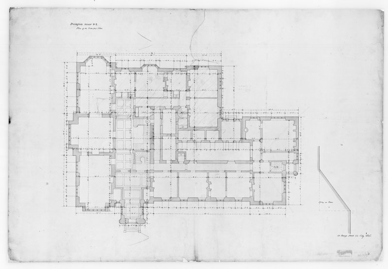 Photographic copy of plan showing principal floor, Aros House, Mull.