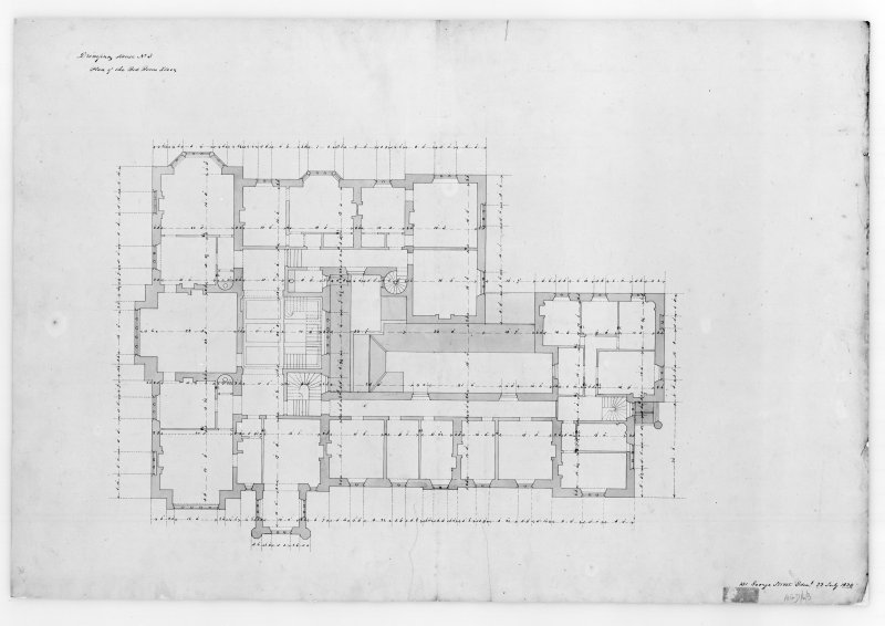 Photographic copy of plan showing elevation of principal entrance front, Aros House, Mull.