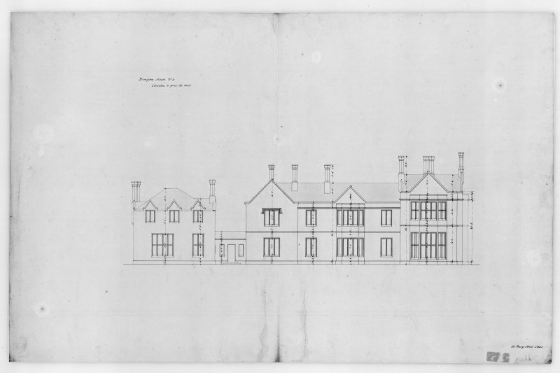 Photographic copy of plan showing West elevation, Aros House, Mull.
