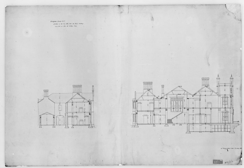 Photographic copy of plan showing sections through main building and kitchen wing, Aros House, Mull.