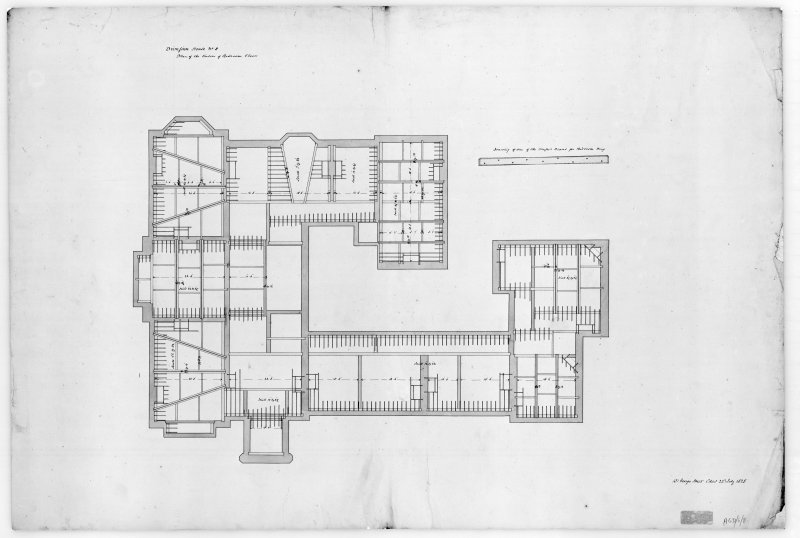Photographic copy of plan showing timbers of bedroom floors and drawing of one of the trussed beams for kitchen wing, Aros House, Mull