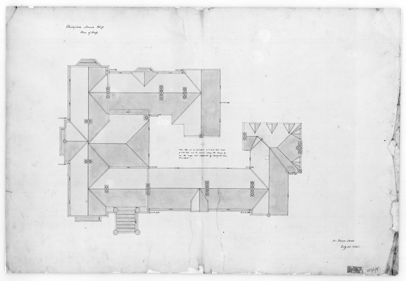 Photographic copy of plan of roof, Aros House, Mull.