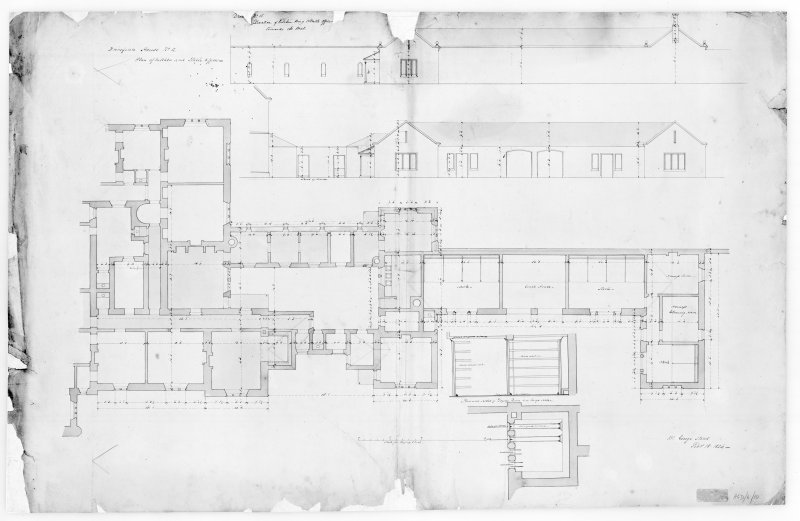 Photographic copy of plans of elevations of kitchen wing and stable offices, Aros House, Mull.