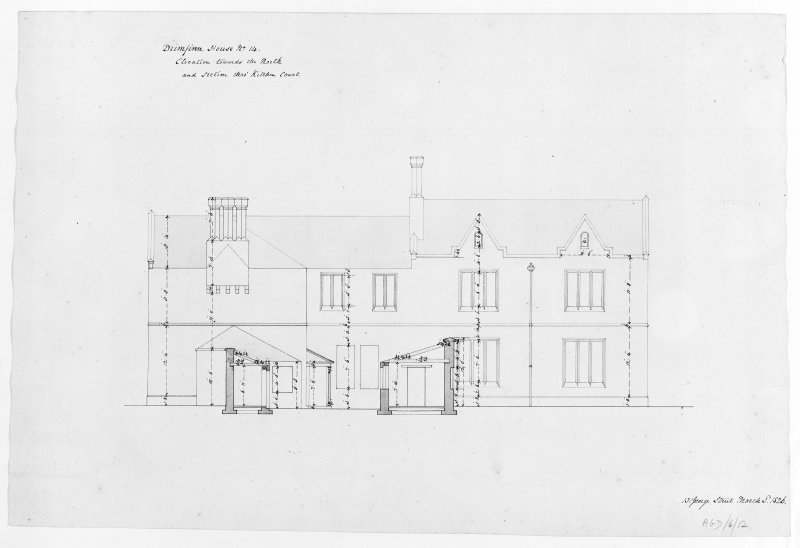 Photographic copy of plan of kitchen court, elevation to North and section, Aros House, Mull.