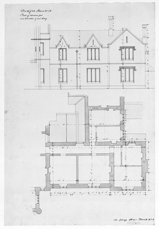 Mull, Aros House. Photographic copy of plan of bedroom floor and elevation of East wing.