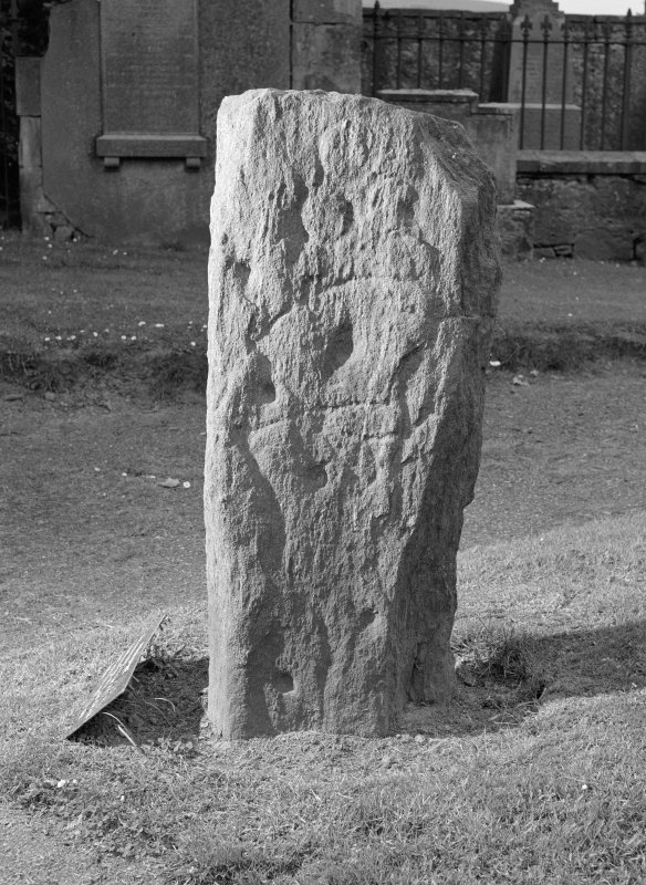 View of reverse of Pictish symbol stone, Dingwall churchyard.