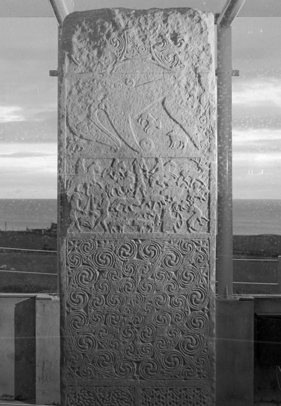 View of reverse of Shandwick Pictish cross slab.