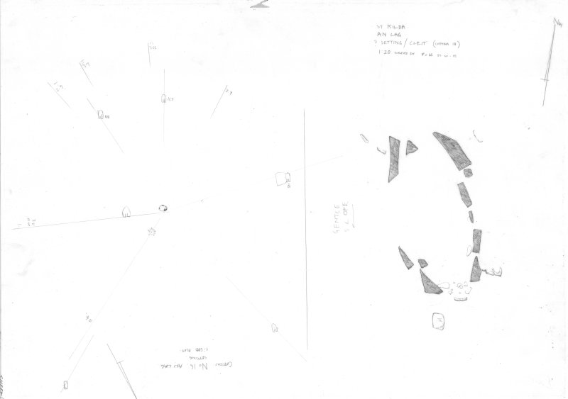 St Kilda, An Lag Bho'n Tuath. Survey drawing. a) 1:500 plan titled: 'Cottam No.16, An Lag'. NF 1028 9949 b) 1:20 plan titled: 'Cottam No. 18; ? Setting/ Cleit' NF 1033 8996