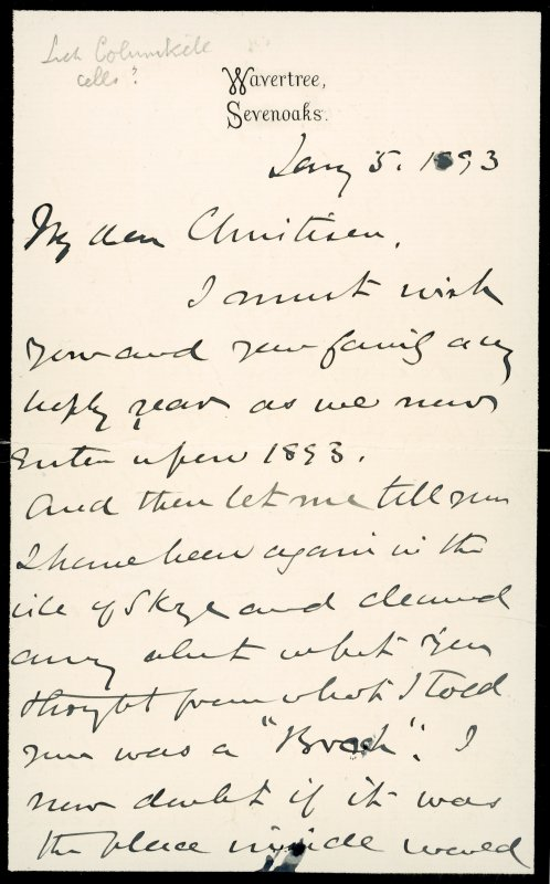 Extract from letter by Sir John Kirk to David Christison, 5 Jan 1893. Page 1 of 4.