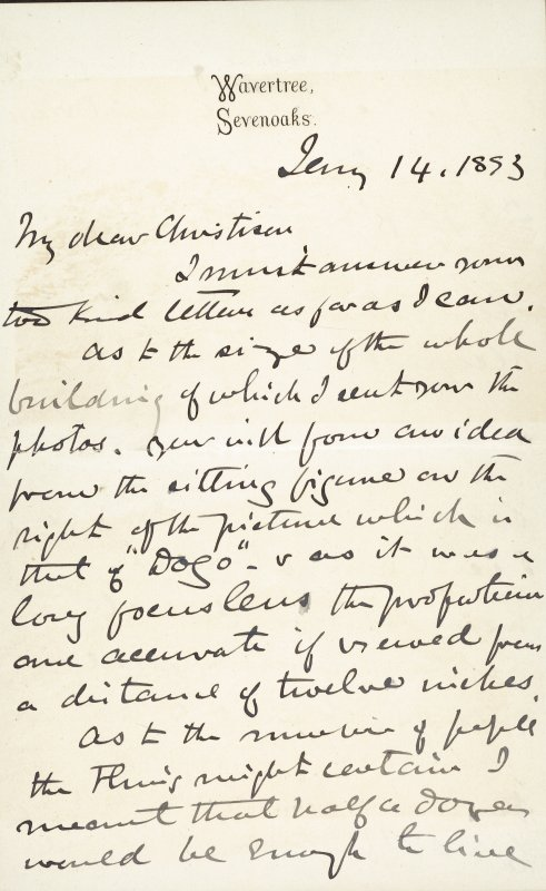 Extract from letter by Sir John Kirk to David Christison. 14 Jan 1893. Page 1 of 12.