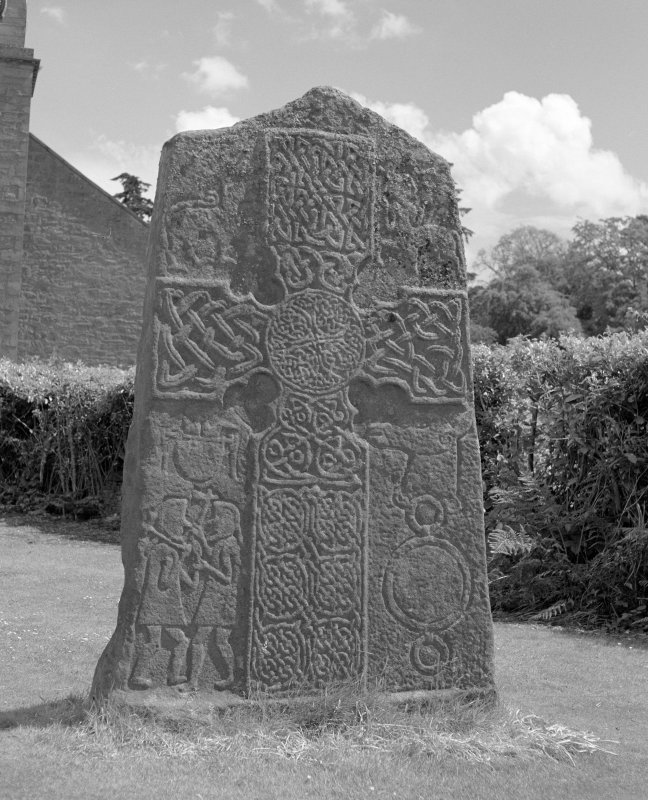 View of face of Glamis no.2 Pictish cross slab.
