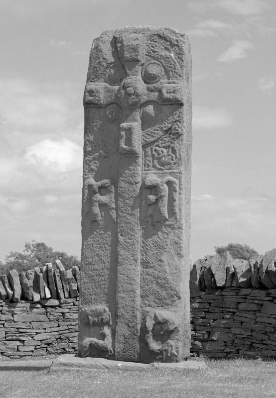 View of face of Aberlemno no.3 Pictish cross slab.