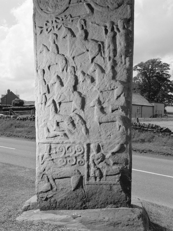 Detail of the lower portion of reverse of Aberlemno no.3 Pictish cross slab.