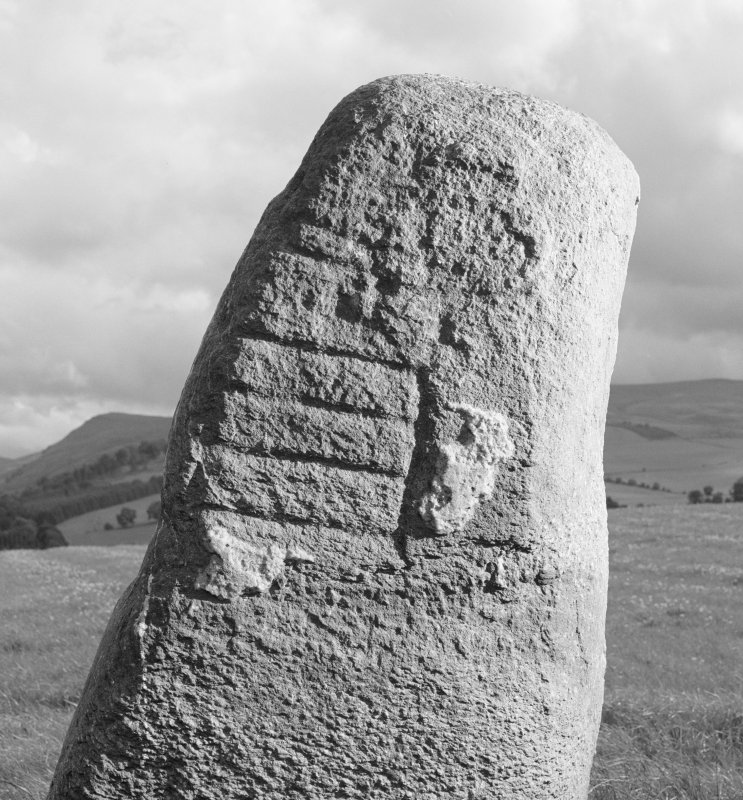 Detail of standing stone with Pictish symbols, Peterhead Farm, Blackford.