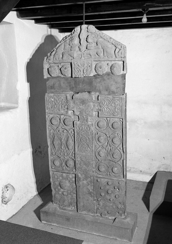 View of face of Nigg Pictish cross slab.