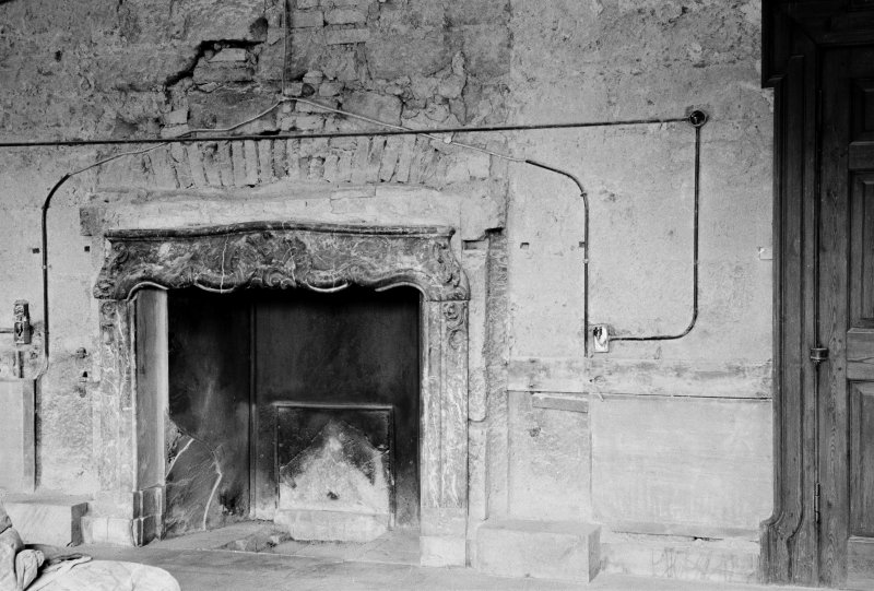Interior view of entrance hall in Gilmerton House after fire.