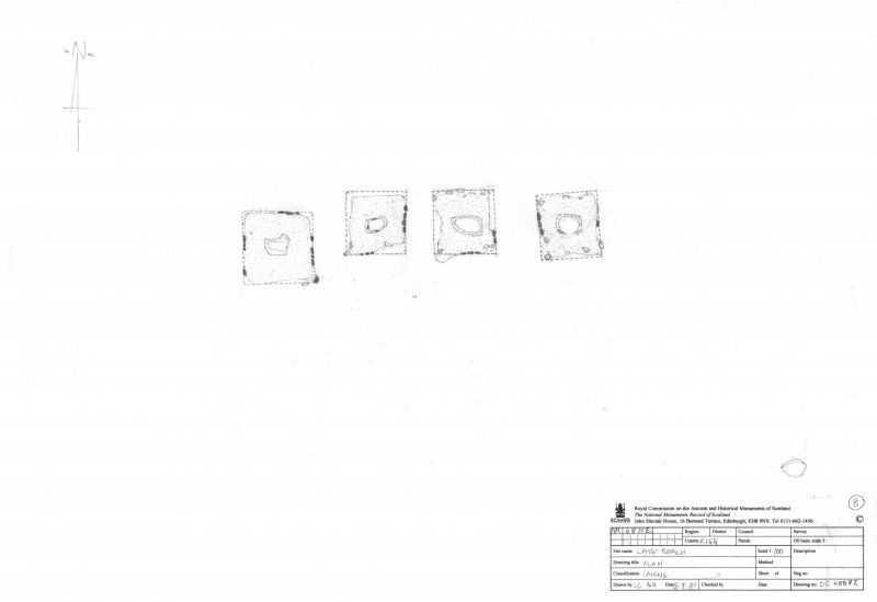 Survey drawing; plan of square cairns at Laig.
