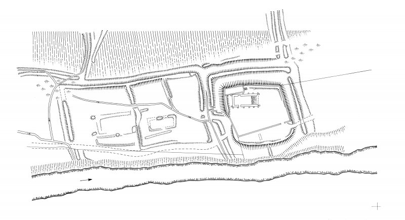 Ink drawing - plan of Hermitage Chapel/ moated site. 400dpi copy of DC49407.