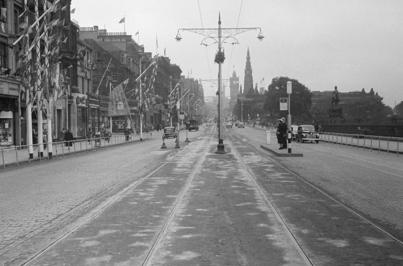 View of Princes Street, Edinburgh decorated for the Coronation of Queen Elizabeth II.
