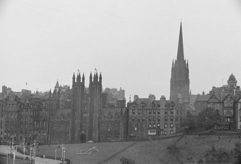 View of the Mound from Princes Street, Edinburgh decorated for the Coronation of Queen Elizabeth II.
