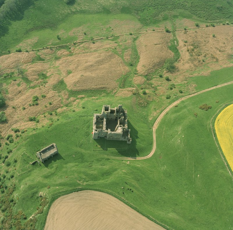 Oblique aerial view of Crichton Castle taken from the SE.