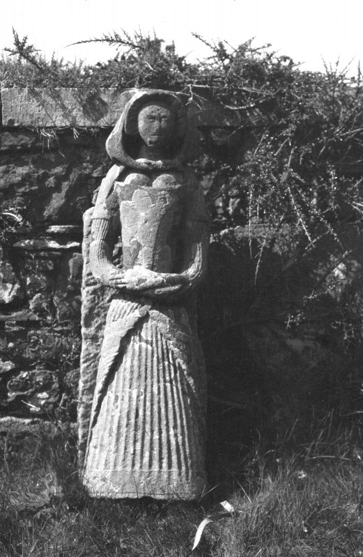 View of female figure in 17th century costume which apparently bore a sundial, Dunvegan Castle, Skye.