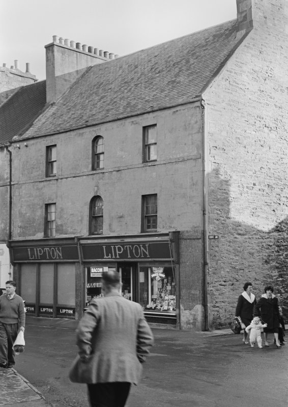 View of 1-3 High Street, Thurso, from west, showing Lipton's shop.