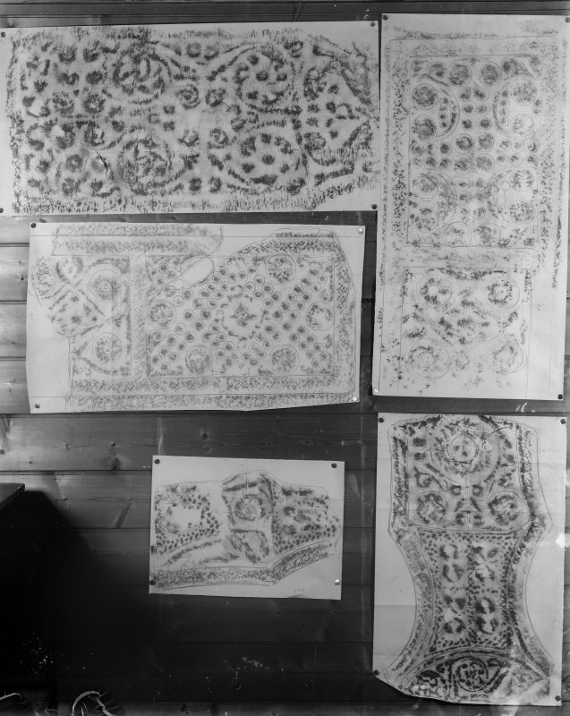 Photographic copy of five rubbings showing details of St Oran's and St John's crosses, Iona.