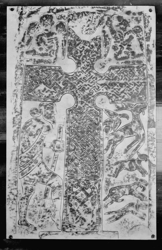 Photographic copy of rubbing showing the face of Kirriemuir no.2 Pictish cross slab.