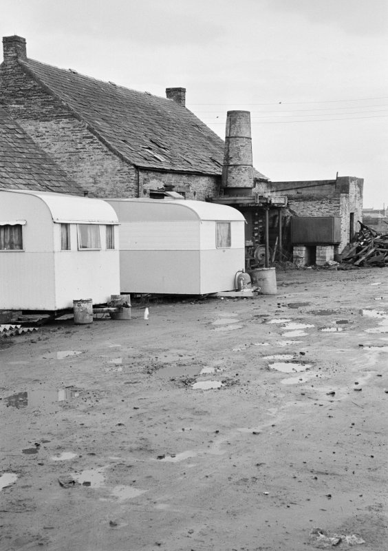 General view of Millbank foundry, Thurso, with caravans outside.