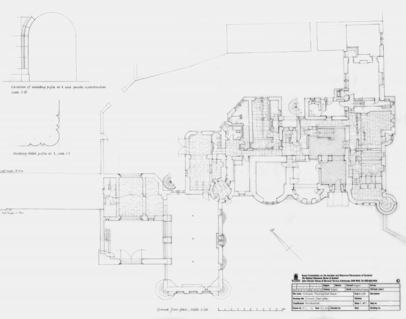 Hospitalfield House: Ground floor plan at 1:100 and moulding profile details at 1:20 and 1:5
