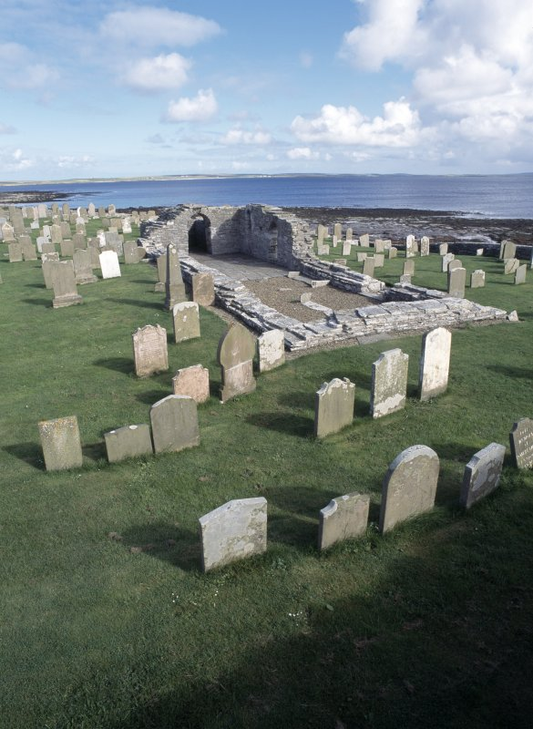 View of remains of Westside Church and burial ground, Westray