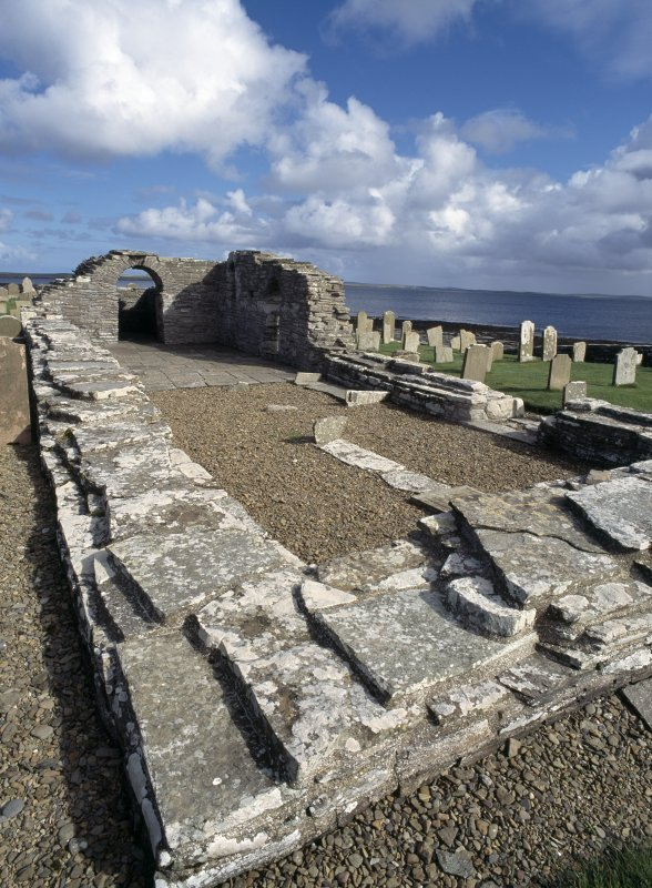 View of remains of Westside Church, Westray
