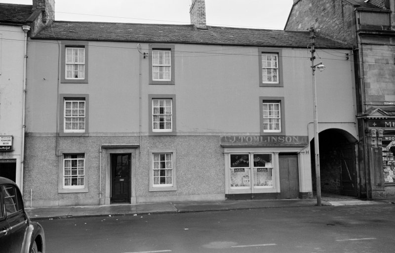 View of 24 Market Square, Coldstream, from north showing J. Tomlinson's shop